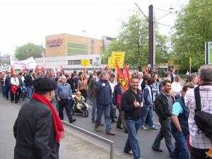Marsch der Gewerkschaften im DGB